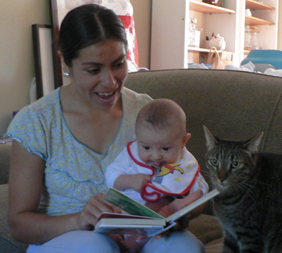 Reading with Angy, Isaac, and Tig